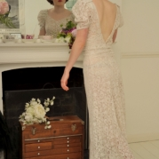 Late 1930s Alencon lace with puff sleeve